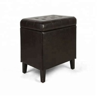 black leather wood legs ottoman storage stool chair