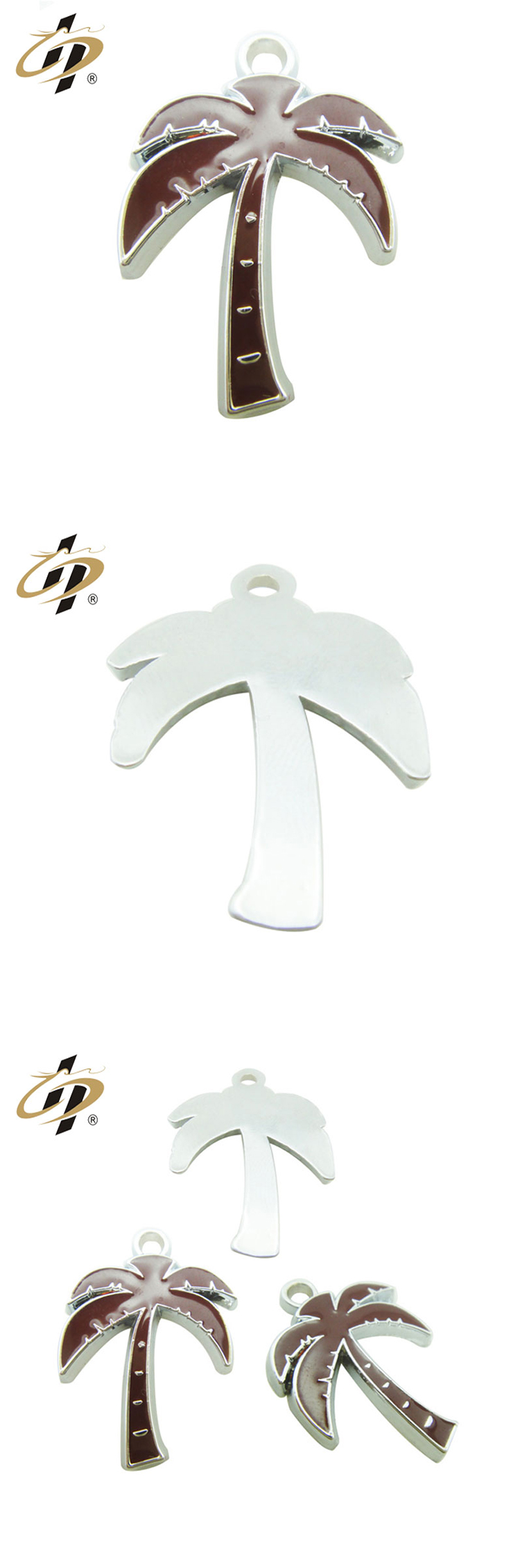 Wholesale custom modern silver coconut tree shaped metal pendant