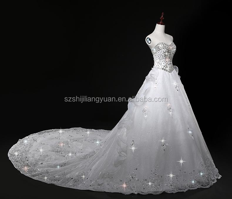Ball Gown Wedding Dress Material : Fashion appliqued crystals bead organza ball gown wedding dress