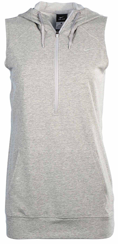 02f0714c Nike Women's Dri-Fit Obsessed Sleeveless Half Zip Hoodie-Heather  Grey-Medium. 60.0. Nike Women's Dri-Fit Knit Running Shirt
