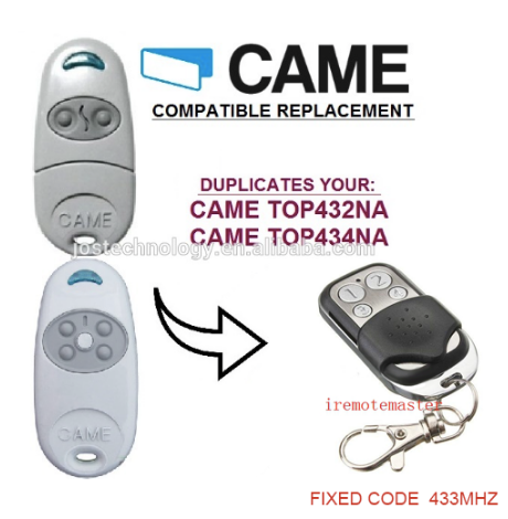 For CAME TOP432NA TOP434NA compatible Garage Gate Remote Control Key Clone Fob Transmitter
