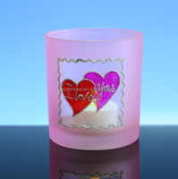pink glass tealight candle holder with red heart for Valentine's Day