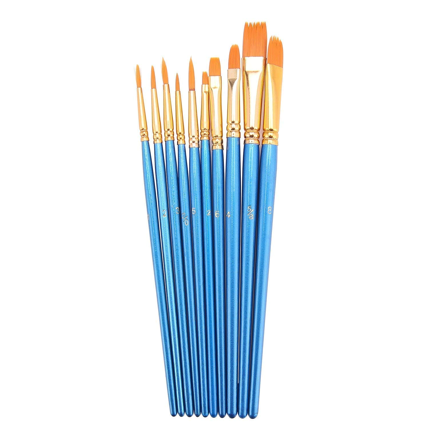10Pieces Round Pointed Tip Nylon Hair Brush Set,Brush Set, Art and Watercolor Brushes, Acrylic Paint Brushes, Oil Painting Supplies, Blue