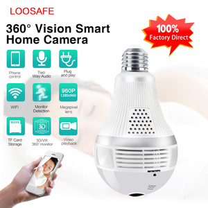 Loosafe Full HD 960P Wifi Bulb Hidden Spy Camera 3 pcs LED Wireless Panoramic 360 Camara Bulb