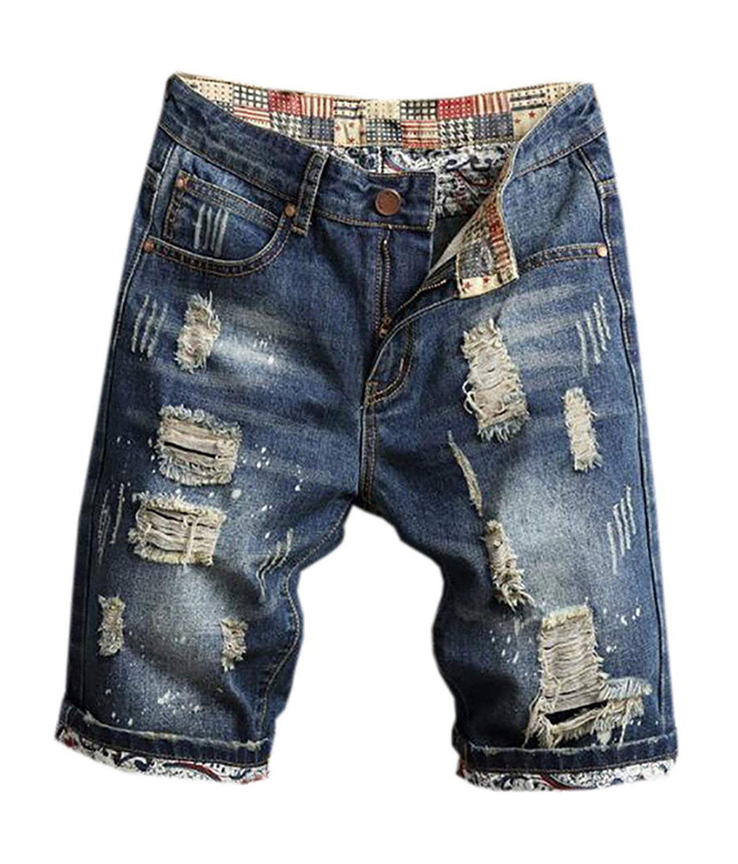 Suncolor8 Mens Stretchy Summer Slim Straight Leg Denim Shorts Jeans