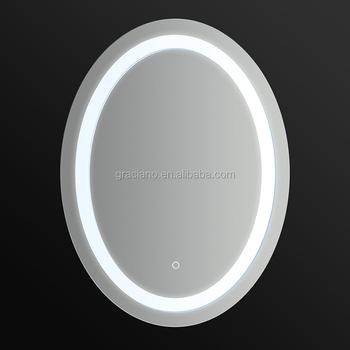 Jn008 Ovale Decorativo Di Vetro Argento Specchio Del Bagno Con Luce