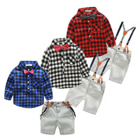 Wholesale boutique fashion grid newborn baby clothes boy