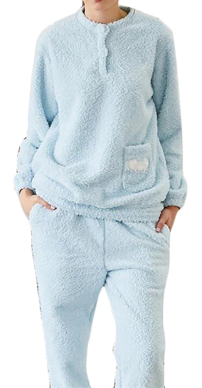 6841860dde Get Quotations · Pivaconis Womens Fluffy Pullover Fleece Sleepwear Flannel Pajamas  Set