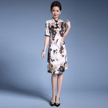 High Quality Sexy Cute White Silk Lace Cheongsam Dress