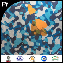 FY Fashionable 100 Silk Fabric Custom Digital Printed Blue Camouflage Silk Twill Factory for Wholesale