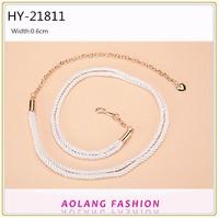 New design western lady fabric rope waist metal chain white weave belt