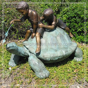 Attrayant Boy And Girl On Tortoise Bronze Garden Statues For Childrenu0027s Park Decor