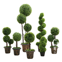 40-150cm Anti-UV Artificial Boxwood Triplicate Ball Wreath and Spiral Grass Plant Topiary Bonsai Tree
