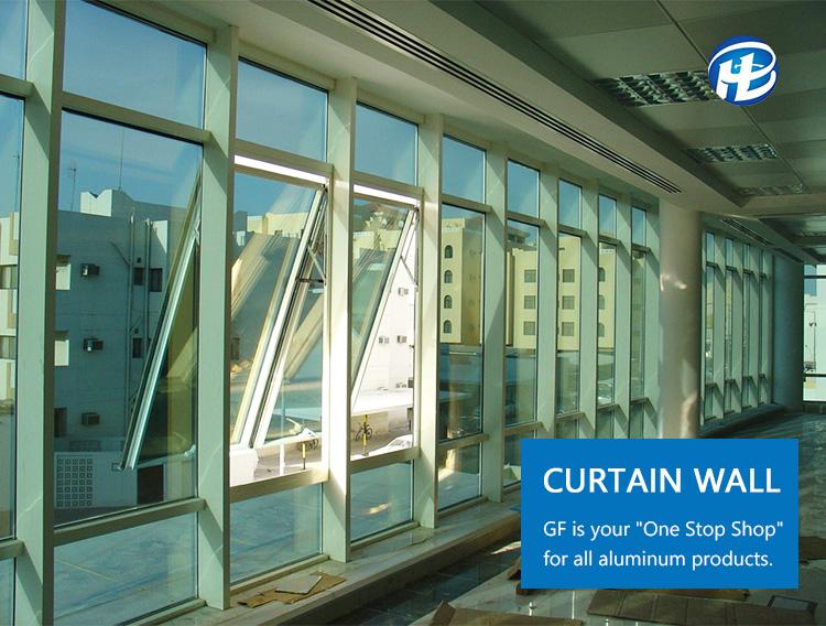 Glass Curtain Wall Awning Windows Aluminum Storefront