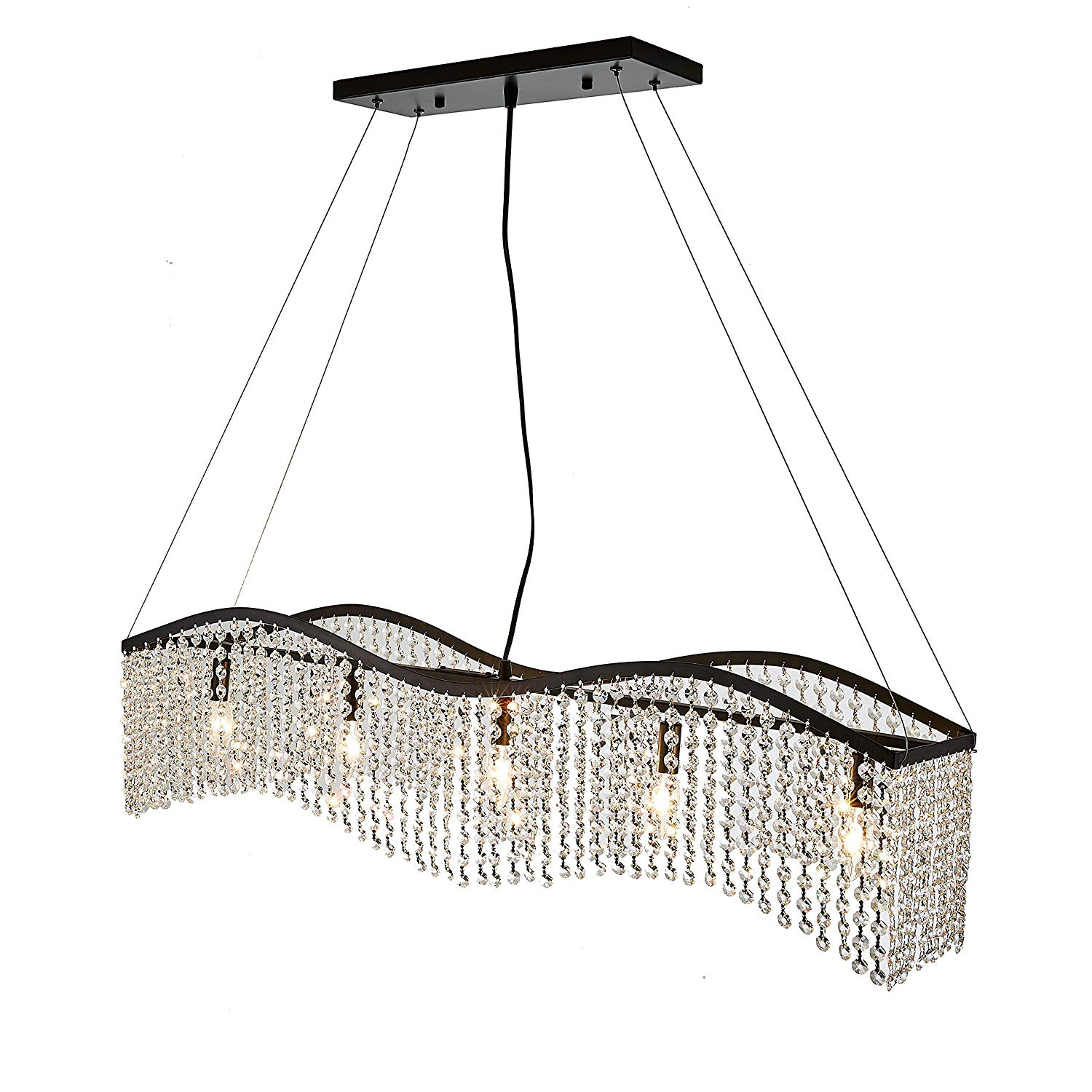 Ceiling Lights & Fans Chandeliers Modern Wave K9 Crystal Hanging Wire Ball Square Pendant Lamp Lighting Fixture Rain Drop Curtain Glass Chandelier Led Light