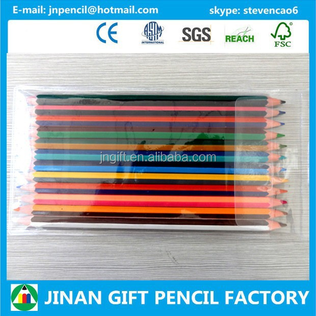 "7"" 12pcs 24 Color Stripe Twin color Pencil Packed in PVC bag/Pencil Factory"