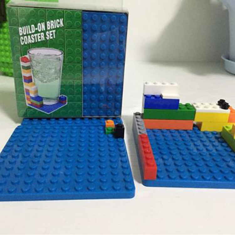 Funny Tableware DIY Lego Coasters Building Block Build-on Cup Pad Anti-skid Insulation Coasters