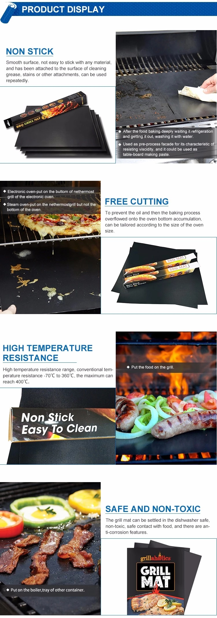 Food Grade Non stick PTFE coated BBQ Grill Mat