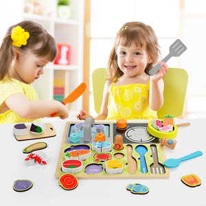 Toys For Kids New 2019 Creative multi-function BBQ Set 3D Wooden Kitchen Cutting And Puzzle Toy
