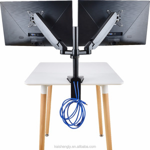 Dual Monitor Mounts Monitor Arms Stand Support, Full Motion swivel gas spring for 10''-27'' LCD Computer vesa Monitor