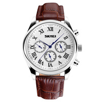 2018 New Jam tangan Fashion Relojes hombre Luxury brand Skmei 9078 Genuine leather Dual time Quartz analog watch for men