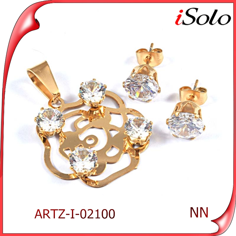 Charming Beauty Design gold jewelryset with cz diamonds