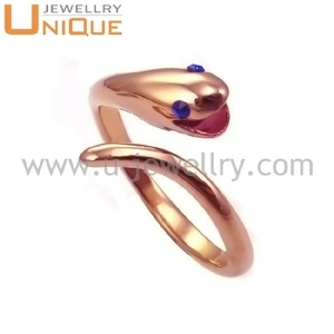 Unique snake design rose gold plated casting stainless steel ring