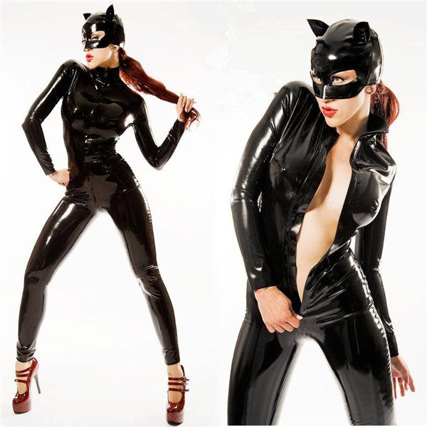 new plus size pvc black catsuit faux leather dress sexy cat halloween costume for women s xxl