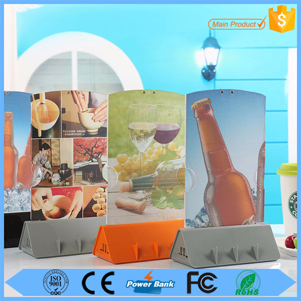 Restaurant Fast Charging 10000mah Shenzhen Factory Battery Powerbank Menu