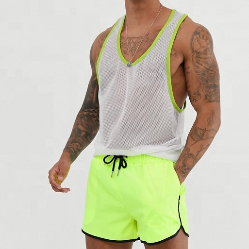 OEM High Quality Swimming Shorts Solid Neon Yellow Swim <strong>Trunks</strong> Men Custom Beach Shorts