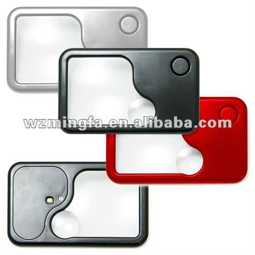 LED Pocket Card Magnifier, Suitable for Promotional Gifts Purposes, Measures 98 x 60 x 6mm