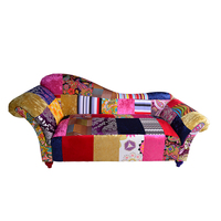 Modern living room furniture colorful velvet patchwork chaise lounge sofa chair