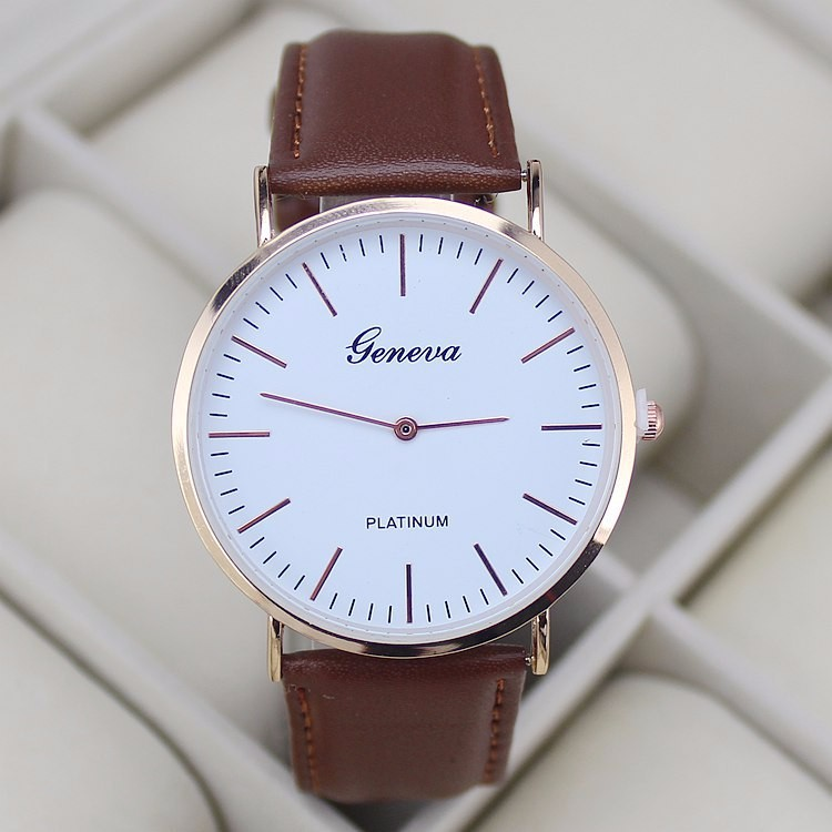 New Brand Fashion Rose Gold Geneva Watch Men Quartz Casual Luxury Leather Watches Clock Hot Christmas Gift
