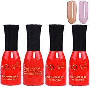 Tint 4PCS OV Red Bottle Soak-off UV Gel Set Top Coat+Base Gel+2 UV Color Builder Gel(No.57-58,15ml)