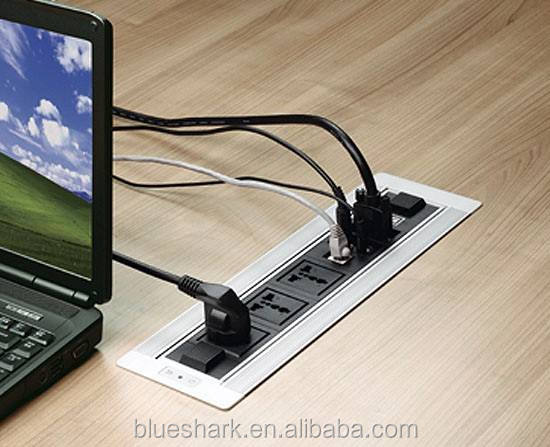 Office furniture flip up tabletop power outlets for meeting room table