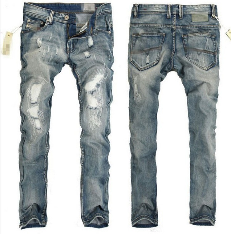 Import China Producten Mannen Voorraad Le Ripped Jeans Met Pu Lederen Labels