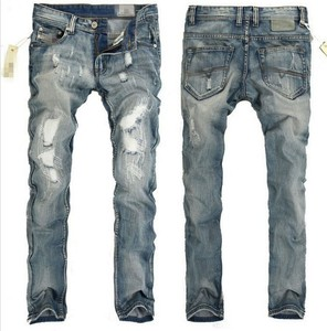 Import China Products Men Stock Le Ripped Jeans With Pu Leather Labels