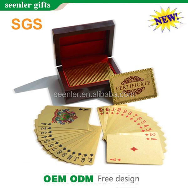 Customized round corner 52pcs royal plastic playing cards gold playing crds