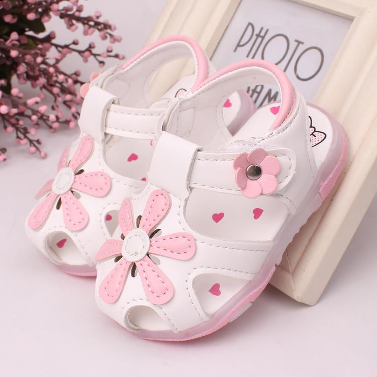 Лето младенцы сандалии младенцы обувь мягкий нижний обувь два цветок мягкий малыша обувь с лёгкие