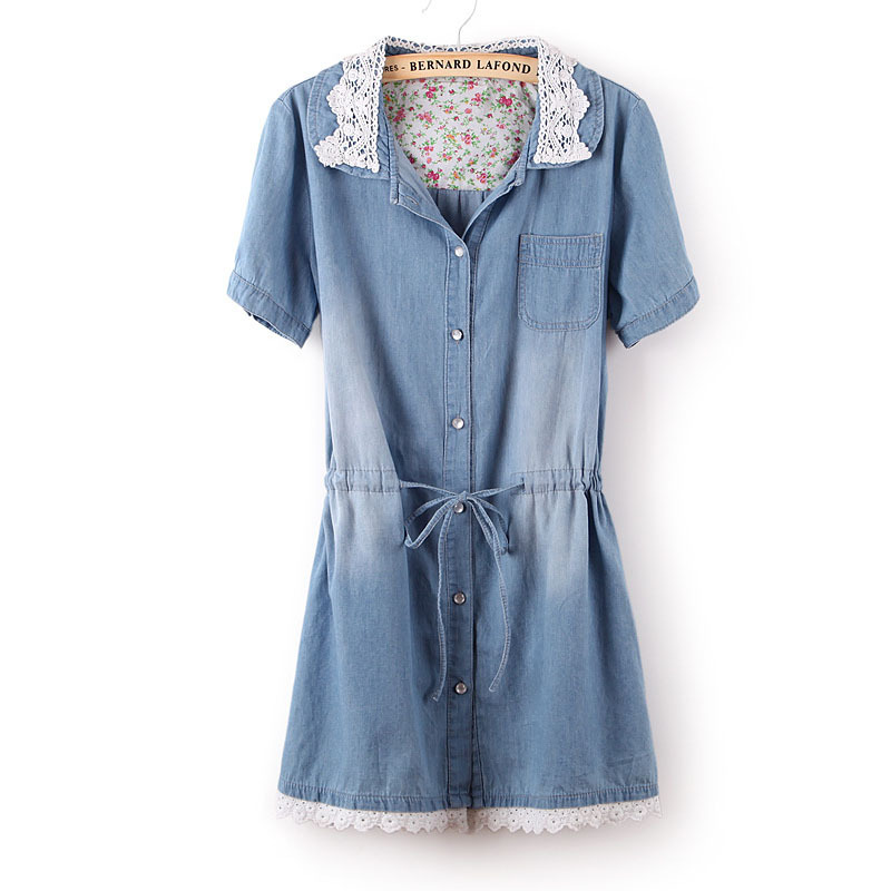 2015 Summer Hot Slim Denim Lace Dress Large Size Korean Style Thin Women  Clothes Washing Jean 942677d9e