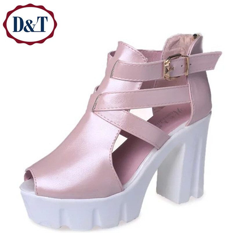 b7a193012b9 Buy  D amp T Cut-Outs Gladiator Women Sandals Boots Women Summer PU Peep Toe  Thick Platform Sandals Shoes Woman White Black Pink Blue in Cheap Price on  ...