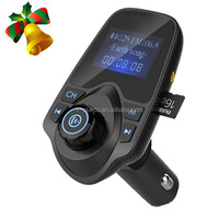 Bluetooth FM Transmitter, Wireless In-Car FM Transmitter Radio Adapter Car Kit With USB Car Charger AUX Input 1.44 Inch Display