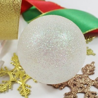 Christmas ornament white glitter glass decorating tree ball