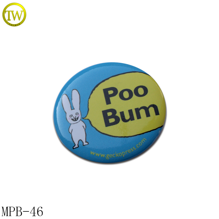 Custom printing metal tin button badge with safety pin