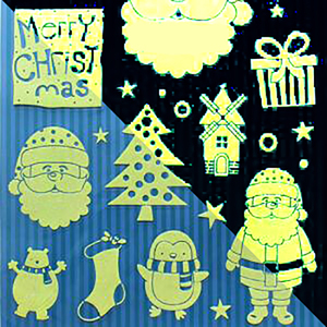 Hot sale waterproof Christmas glass window decoration PVC stickers