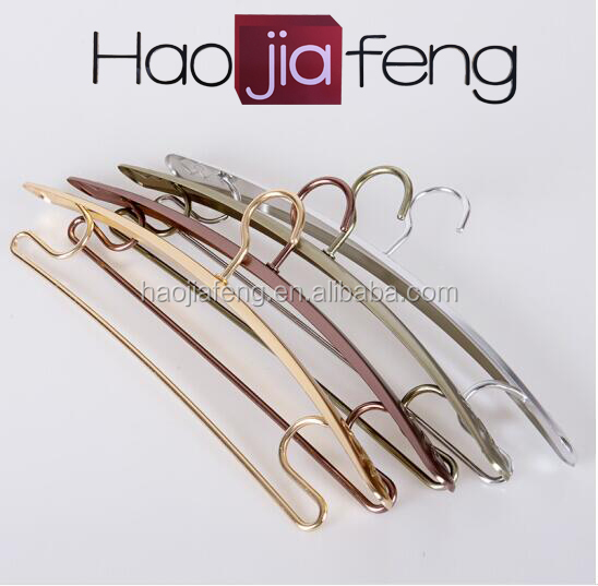 ZC ISO9001 100% Aluminum Alloy Material Natural Finish Customized Logo Wide Suit Wire Coat Hanger for Hotels Stores