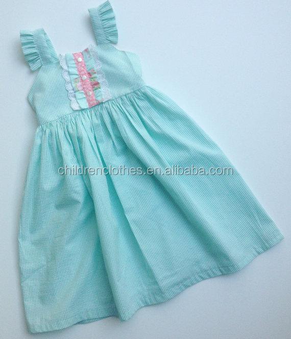 Children's boutique clothing spring summer adult baby girl light blue  stripe baby dresses girl