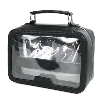 OEM saffiano clear pvc black waterproof toiletry bags ladies transparent cosmetic bag