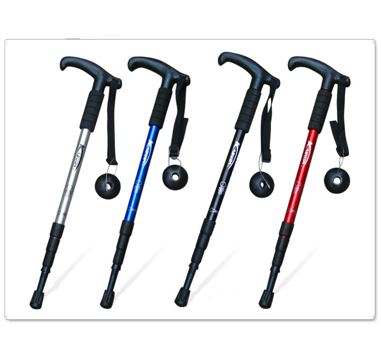 Adjustable Anti-slip Aluminum Alloy Rubber Handle Walking Stick
