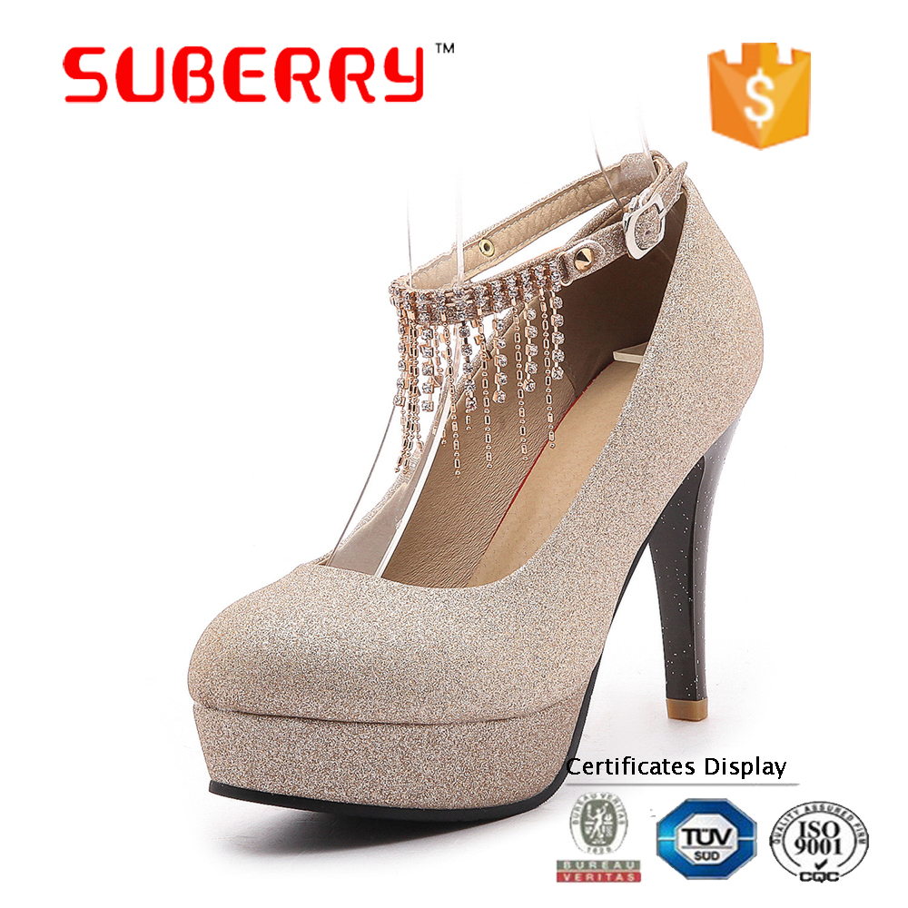 SUBERRY fashion women's high heels wedding shoes Crystal chain pumps platform shoes women zapatos mujer plataforma